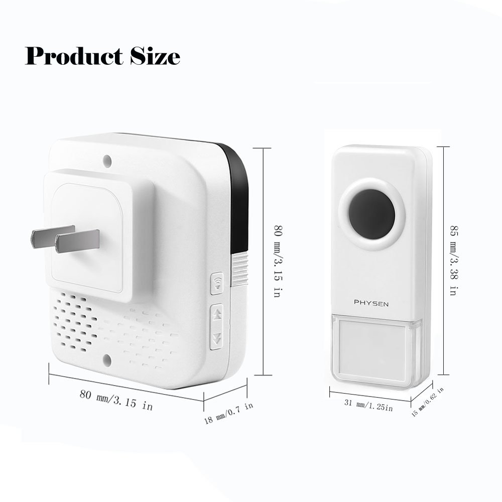 Physen Model B7 Wireless Doorbell Kit With 1 Remote Push Button And Rewiring Old 2 Plug In Receivers 1000 Ft Range 4 Adjustable Volume Levels 52 Chimes No Batteries