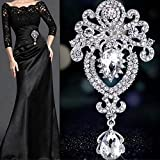 Pendant Rhinestone Brooch Pin Fashion Charming Jewelry broach with Resin Rhinestone for Party Banquet Wedding Bridal Casual Décor (Silver)