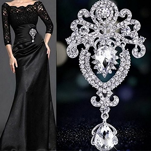 Fashion Charming Pendant Jewelry Brooch Pin with Resin Rhinestone for Party Banquet Wedding Bridal Casual Décor (Silver)