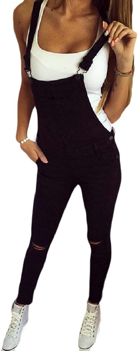 LinkShow Womens Ripped Hole Vogue Running Full Length Pocketed Rompers Overalls