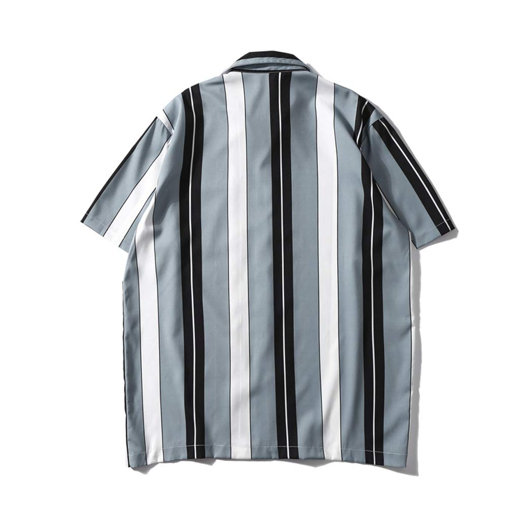 Palalibin 2019 Summer Fashion Striped Shirt Mens Button Down Casual Short Sleeve Pockets Beach Tops