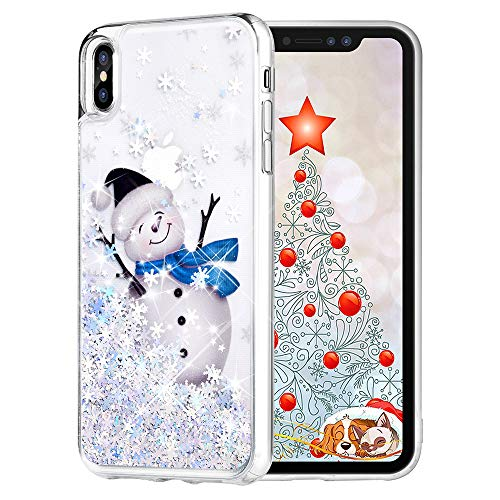 Maxdara Christmas Case for iPhone Xs/iPhone X, Merry Christmas Snowman Pattern Glitter Liquid Bling Sparkle Pretty Cute Case for Girls Children Women Gifts Xs/X Christmas Case 5.8 inch(Snowman)