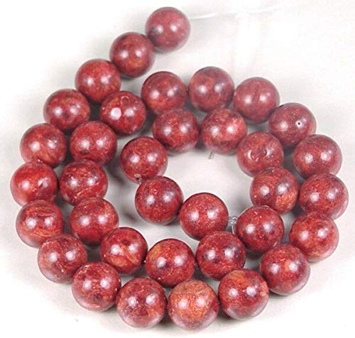 (12mm Red Sponge Coral Round Beads 15'')