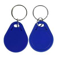 LIBO UID modifiable Balises RFID Inscriptible programmables Porte-clés 13.56 MHz ISO14443A Badges contrôle d'accès Couleur Bleu Matière Plastique (Paquet de 100)