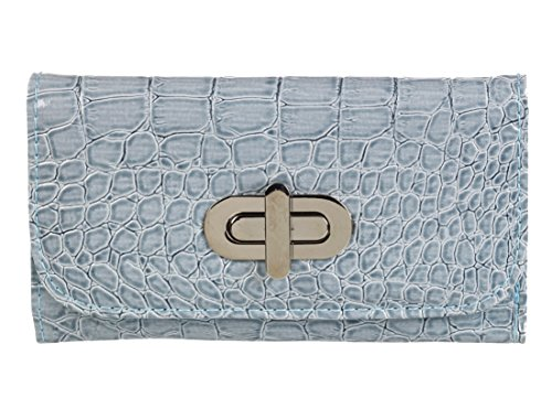 Patent Crocodile Leather Pastel Leather Patent Blue Purse Crocodile qEc4tR8
