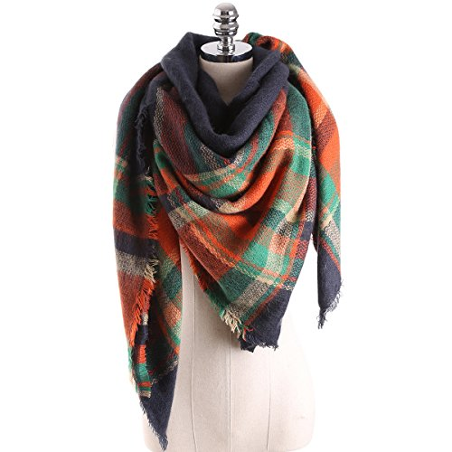 Surblue Women's Oversized Large Tartan Plaid Blanket Scarf Wrap Shawl with Hair Tie, Color Blocking