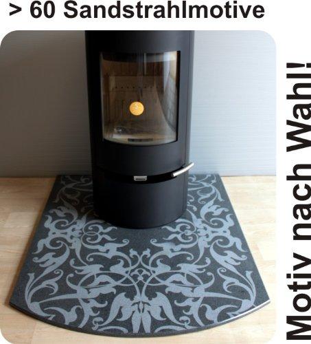 Funkenschutzplatte Bodenplatte f. Kaminofen & Pelletofen Segmentbogen Granit F10S - 100 x 110 cm - Motiv nach Wahl