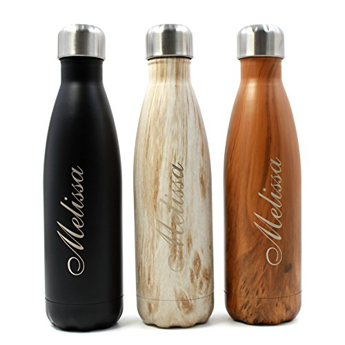 FunnyGuys Customized Engraved Double Wall Stainless Steel Vacuum Insulated Water Bottle Birthday Wedding Graduation Gift, 17 oz(Black)