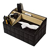 Pu Leather Organizer 3 Media Storage Compartments With Tissue Box Holder