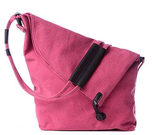 Unisex Shoulder Simple Oversize body Messenger Hobo Pink Tote Canvas Classy Casual Handbag Retro Cross RHRcvrqw