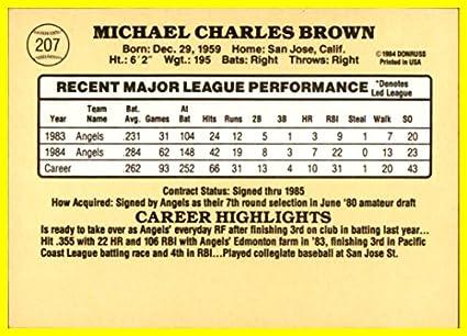 Amazon com: 1985 Donruss #207 Mike C  Brown CALIFORNIA