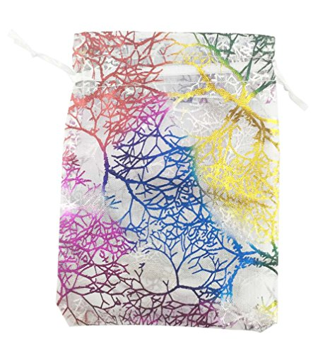 SumDirect 100Pcs 3.5x4.7inches Coralline Pattern Drawstring Organza Jewelry Pouches Wedding Party Christmas Favor Gift Bags (White)