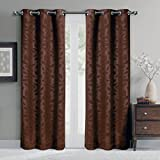 Pair of Two Room Darkening Window Panels, Elegant and Contemporary Virginia Blackout Grommet Top Thermal Insulated Draperies. Set of Two Chocolate 37″ by 96″ Panels (74″ by 96″ Pair)