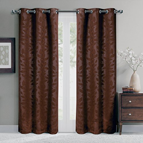 rommet Blackout Weave Embossed Window Curtain Panels, Pair / Set of 2 Panels, 37x84 inches Each, by Royal Hotel (Hotel Chocolate)