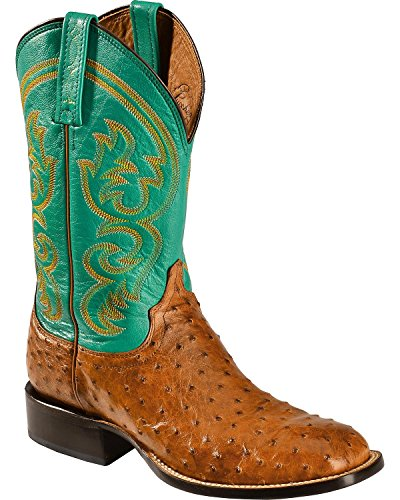 Lucchese Men's Handcrafted 1883 Josiah Full Quill Ostrich Cowboy Boot Square Toe Tan 8.5 D(M) US