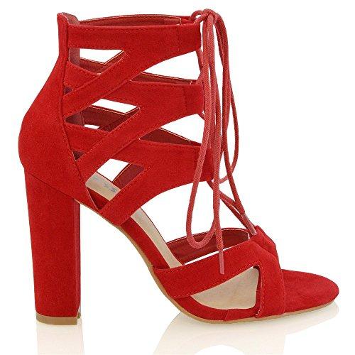 Zapatos De Tacón Block Essex Glam Para Mujer Sandalias Con Cordones Falsa Gamuza Roja