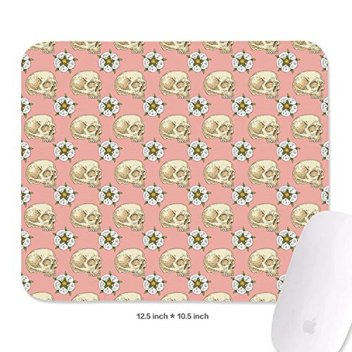 Cool Gaming Mouse Mat Pink Skull Cross with Rose Flower Computers Laptops Rectangle Mouse Pad Durable Textured Easy to Clean 27X32.1 cm Mousepad 3 Mm Thickness Suitable for Various Circumstance ()