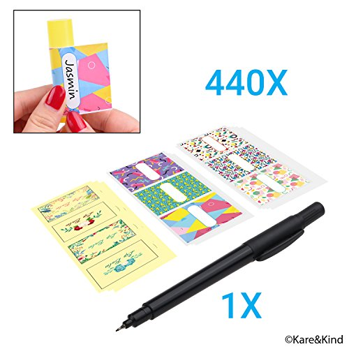 Labels for Lip Balm Tubes/Value Pack of 440 Stickers (or Other Purposes) - 240 Writable Stickers and 200 Printed Stickers - Self Adhesive Easy Peel (440, Lip Balm Stickers)