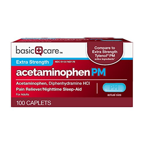 Amazon Basic Care Extra Strength Acetaminophen PM Caplets  100 Count