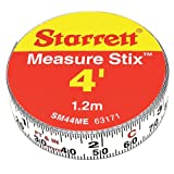 Starrett Measure Stix SM44ME Steel White Measure Tape with Adhesive Backing, English/Metric Graduation Style, Left To Right Reading, 4' (1.2m) Length, 0.5