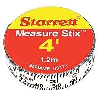 """Starrett Measure Stix SM44ME Cinta de medir blanca de acero con respaldo adhesivo, estilo de graduación en inglés /métrico, lectura de izquierda a derecha, 4 '(1,2 m) de largo, 0.5 """"(13 mm) de ancho, 0.0625"""" Intervalo de graduación"""