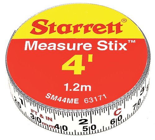 Measure Stix - Starrett Measure Stix SM44ME Steel White Measure Tape with Adhesive Backing, English/Metric Graduation Style, Left to Right Reading, 4' (1.2m) Length, 0.5