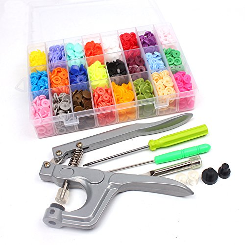 Souarts 360pcs Snap Button Plastic with Snaps Pliers and Organizer Storage Containers by Souarts
