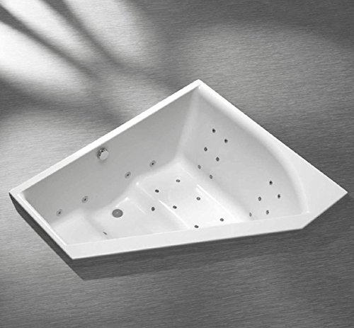 Raumspar Badewanne extra tiefe 155 x 135 x 57 cm für richtiges Baden links
