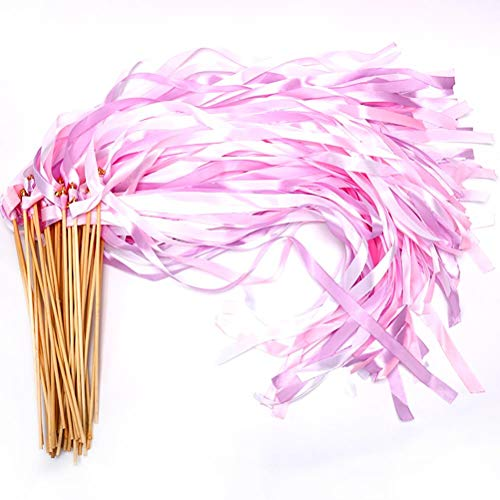 - 40 Pack Ribbon Wands - MeiMeiDa Pink Ribbon Fairy Wands with Bell and Smooth Wood Sticks, Chromatic Silk Waving Party Streamers for Wedding Best Wishes, Kids Birthday Props, Dance Party Favors