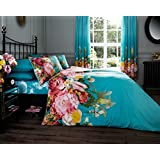 Fadded Floral 'Terquoise' Bedding King Duvet Cover Set