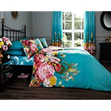 Fadded Floral 'Terquoise' Bedding Double Duvet Cover Set