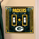 The Memory Company Green Bay Packers Art Glass Double Switch Plate Cover