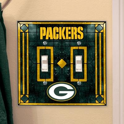 Green Bay Packers - NFL Art Glass Double Switch Plate Cover (Art Nfl Lamps Glass Table)
