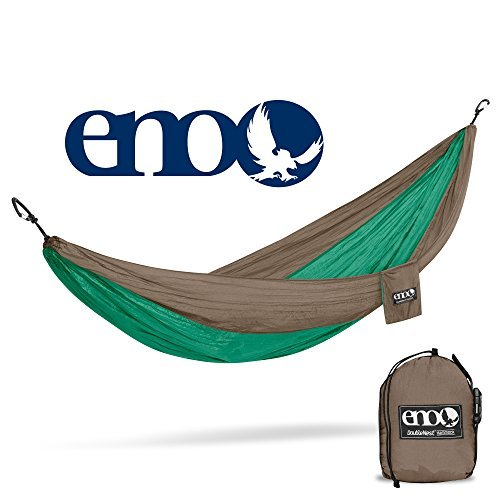 ENO Eagles Nest Outfitters - DoubleNest Hammock, The Original Portable Outdoor Camping Hammock for Two, Special Edition Colors, Emerald/Khaki by Eagles Nest Outfitters