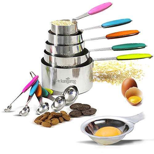 Measuring Cups and Spoons Stainless Steel. 10 Pieces Set. Includes Egg Yolk and White Separator. Measure Liquid and Dry Ingredients for Cooking and Baking. Multicolor Silicon handles.