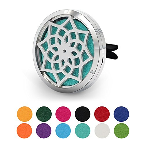 (COOHAA Flower 38mm Car Aromatherapy Essential Oil Diffuser Stainless Steel Locket Air Freshener with Vent Clip 12 Felt Pads)