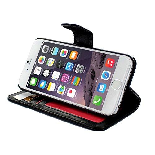 Etui APPLE IPHONE 6S [Le Folio Premium] [Schwarz] von MUZZANO +  3 Display-Schutzfolien UltraClear + STIFT und MICROFASERTUCH MUZZANO® GRATIS - Das ULTIMATIVE, ELEGANTE UND LANGLEBIGE Schutz-Case für