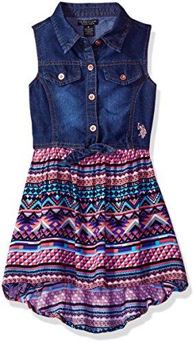 U.S. Polo Assn. Big Girls' Tencel Denim and Aztec Print Rayon Dress, Multi, 7