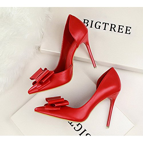 High Pointed Red Women's Side Hollow Fashion Leather Wedding Shoes Heels Pumps Gentle JACKY'S xnYw7XRR