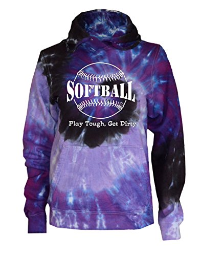 (JANT girl Softball Tie Dye Sweatshirt - Play Tough Large Logo (Purple Twist, S))