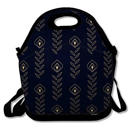 Reusable Lunch Bag for Men Women Hipster Basant Simple Geometric Pattern Flat Vintage Rangoli Arrow Batik Damask Deepavali Deepawali Design Shibori Insulated Lunch Tote for Travel Office School