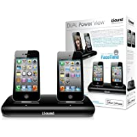iSound Dual Power View Charging Dock for iPhone 3G/3GS/4/4s, iPod Touch 1/2/3/4th generation, iPod Nano 5/6th generation - Black