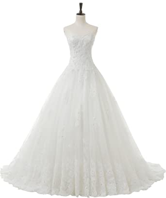 dfccbc9896f SOLOVEDRESS Women s A Line Luxury Sweetheart Beaded Princess Wedding Dress  Lace Bridal Gown(US 2