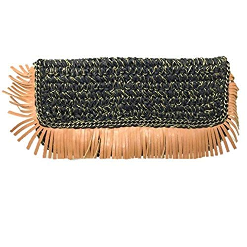 Shiraleah Womens Barbados Woven Fringe Clutch Purse Black