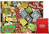 Matty's Toy Stop 150 Piece ABC Stack N' Build Wood Alphabet Blocks Bulk Classroom Set with Exclusive Storage Bag