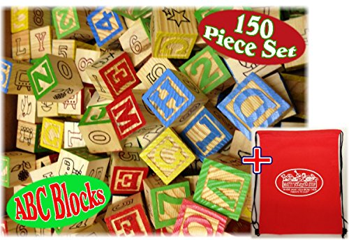 150 Piece ABC Stack N' Build Wood Alphabet Blocks Bulk Classroom Set with Exclusive