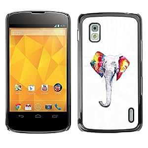 TopCaseStore / la caja del caucho duro de la cubierta de protección de la piel - Colorful Minimalist White - LG Google Nexus 4 E960