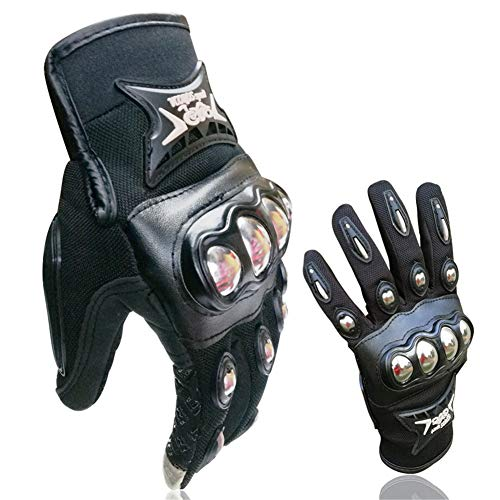 VCOROS Alloy Steel motorcycle & ATV Dirt Bike riding Full finger Gloves With Touch Screen Funtion (L)