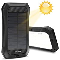 Solar Charger ICHECKEY Portable Battery Charger 10000mAh External Battery Power Bank with Emergency lights for iPhone, iPad, Samsung Galaxy, Android and other Smart Devices