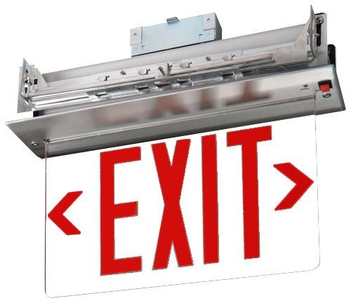 Recessed Red Edge Lit Exit Sign - Single Sided